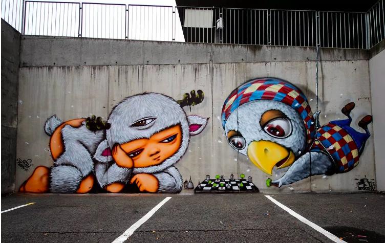 Sjakk-graffiti av to graffitikunstnere fra Thailand: Mue Bon og Alex Face